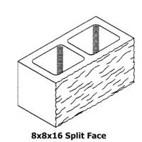 8 x 8 x 16 Split Face Concrete Block